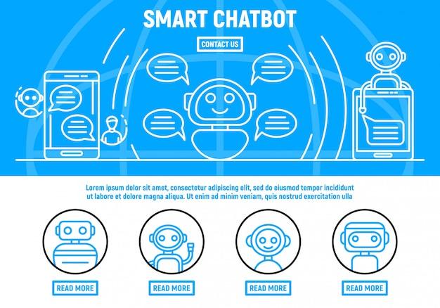 Fondo de concepto de chatbot, estilo de contorno