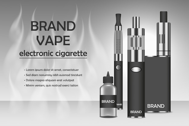 Fondo de concepto de cigarrillo electrónico de vapor