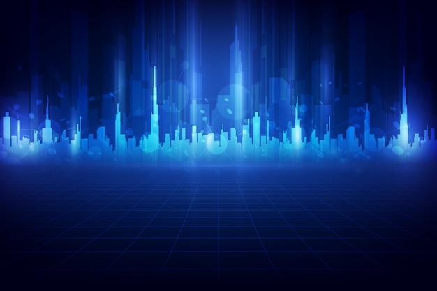 Fondo de concepto de ciudad inteligente y red de telecomunicaciones. técnica mixta abstracta