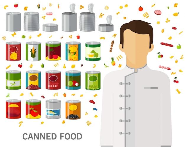 Fondo del concepto de comida enlatada. iconos planos