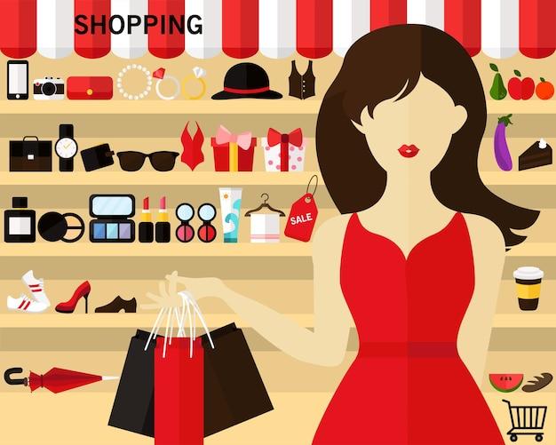 Fondo del concepto de compras. iconos planos