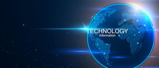 Fondo de concepto de comunicación de tecnología de datos de computadora de mundo abstracto