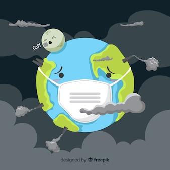 Fondo de concepto de contaminación estilo plano