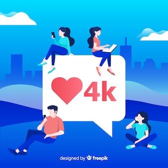 Fondo concepto corazón redes sociales gente joven dibujada a mano