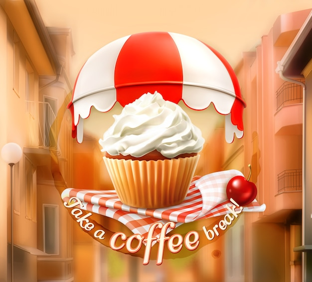 Fondo de concepto de desayuno con cupcake y cereza