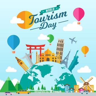 Fondo concepto día mundial del turismo con monumentos en diseño plano