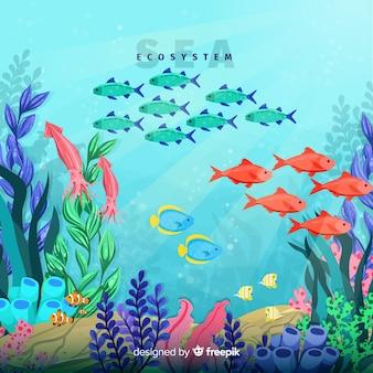 Fondo concepto ecosistema del mar