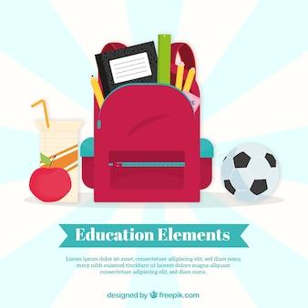 Fondo de concepto de educación con mochila roja