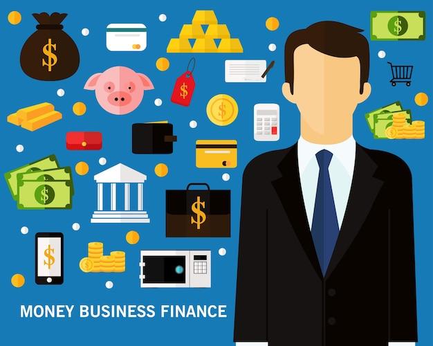 Fondo del concepto de las finanzas del negocio del dinero. iconos planos