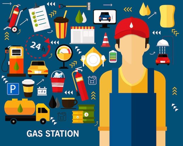 Fondo del concepto de la gasolinera. iconos planos