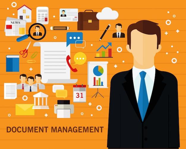 Fondo de concepto de gestión de documentos