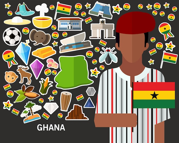 Fondo del concepto de ghana. iconos planos