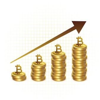 Fondo de concepto de gráfico de gráfico de crecimiento de bitcoin