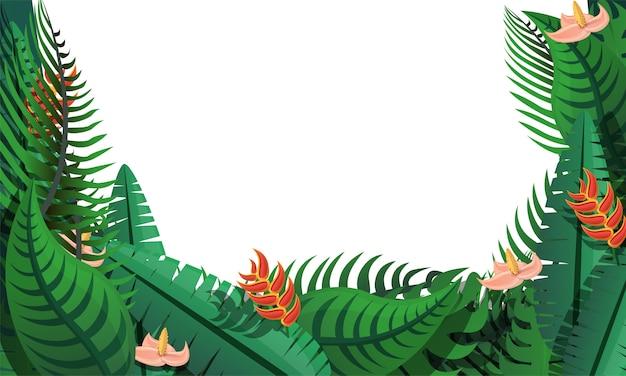 Fondo de concepto de hojas tropicales, estilo de dibujos animados