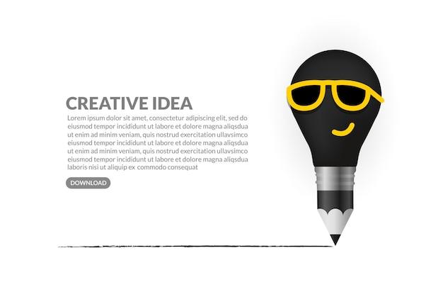 Fondo de concepto de ideas creativas, personaje de bombilla de dibujo a lápiz con gafas de sol