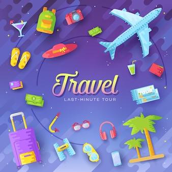 Fondo de concepto de infografía de viaje de vacaciones de verano