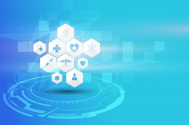 Fondo de concepto de innovación médica de atención médica