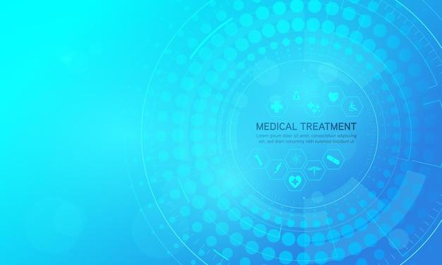 Fondo de concepto de innovación médica de patrón de icono de salud y ciencia