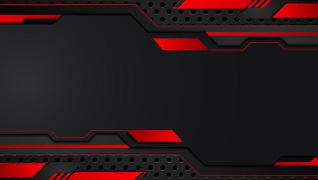 Fondo de concepto de innovación de tecnología de diseño de marco metálico abstracto negro rojo