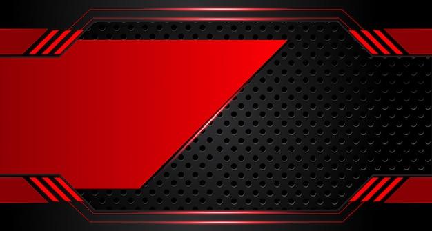 Fondo de concepto de innovación de tecnología de diseño de marco negro rojo metálico abstracto