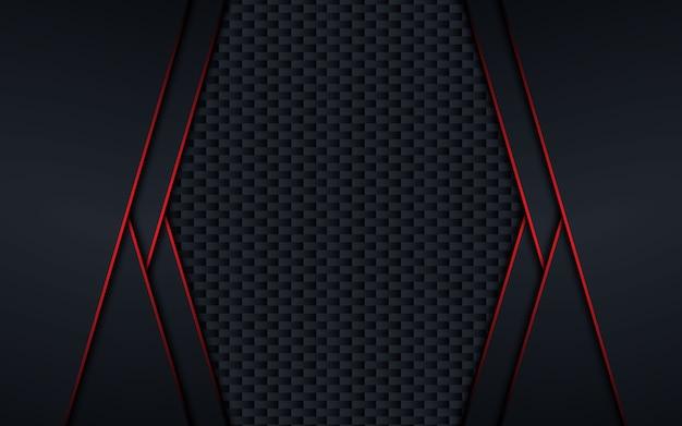 Fondo de concepto de innovación de tecnología de diseño negro rojo metálico abstracto.