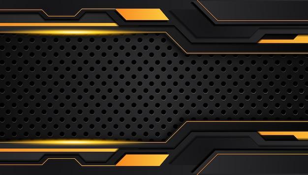Fondo de concepto de innovación tecnológica de diseño de marco metálico abstracto amarillo naranja y negro