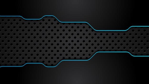 Fondo de concepto de innovación tecnológica de diseño metálico abstracto azul y negro.