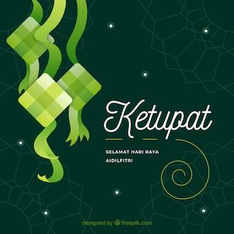 Fondo concepto ketupat en diseño plano