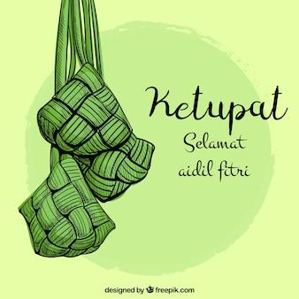 Fondo concepto ketupat estilo pintado a mano