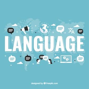 Fondo de concepto de lenguaje con palabras