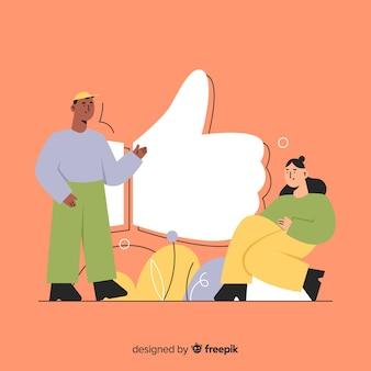 Fondo concepto me gusta redes sociales gente joven dibujado a mano