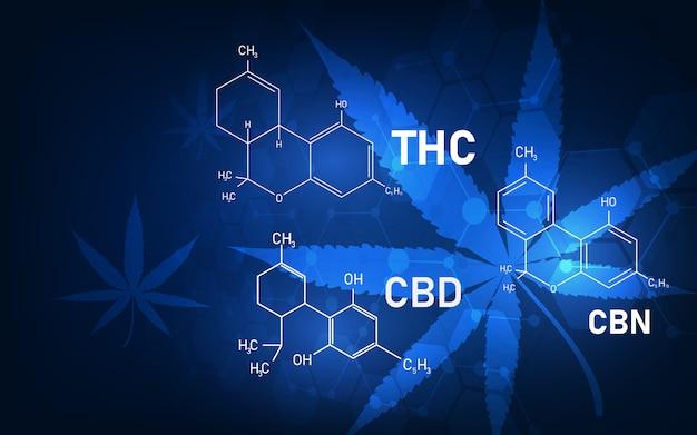 Fondo de concepto médico de estructura molecular de cannabis