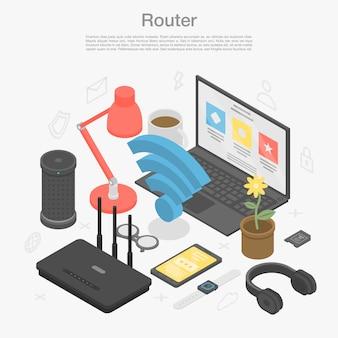Fondo de concepto de módem router, estilo isométrico