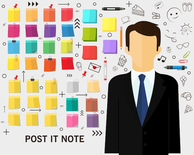 Fondo de concepto de nota de post-it