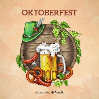 Fondo con concepto oktoberfest pintado a mano