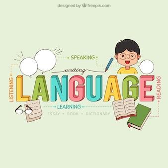 Fondo de concepto de palabra de lenguaje