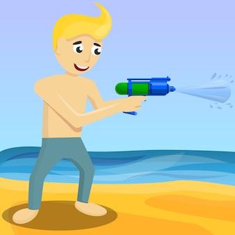 Fondo de concepto de pistola de chorros, estilo de dibujos animados