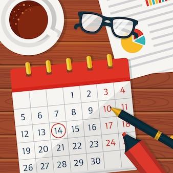Fondo de concepto de planificación de calendario.
