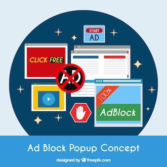 Fondo de concepto popup de bloque de anuncios en estilo plano