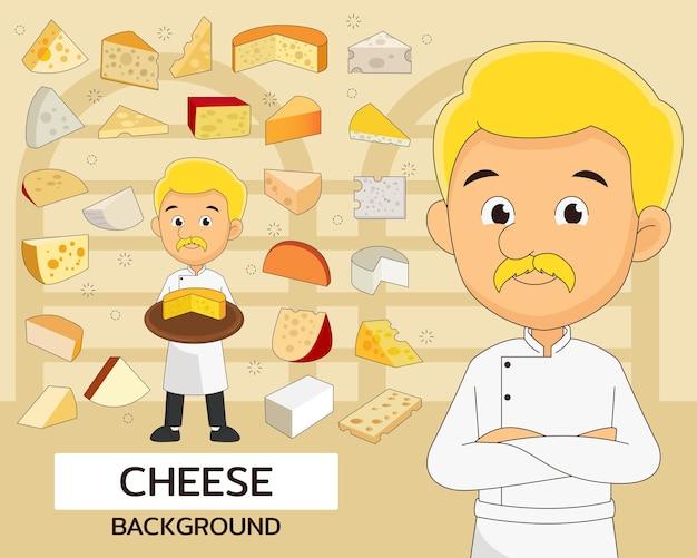 Fondo del concepto de queso. iconos planos.