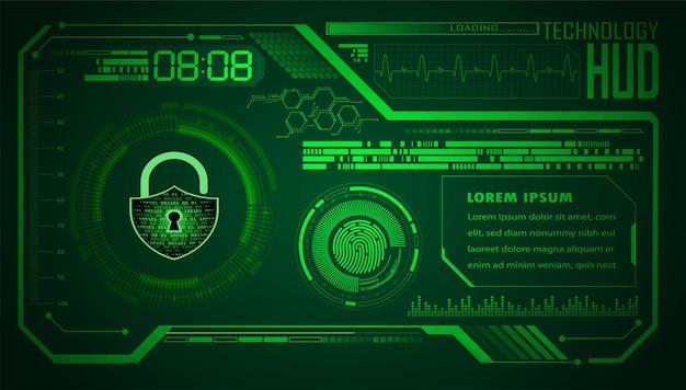 Fondo de concepto de seguridad cibernética de hud