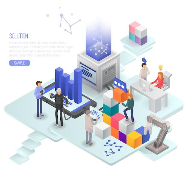 Fondo del concepto de solución. ilustración isométrica de fondo de concepto de vector de solución para diseño web