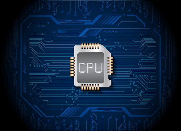 Fondo de concepto de tecnología azul futuro circuito cibernético de cpu
