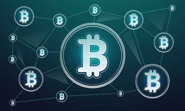 Fondo de concepto de tecnología blockchain, estilo de dibujos animados