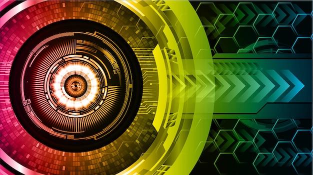 Fondo de concepto de tecnología futura de circuito amarillo cibernético rosa azul