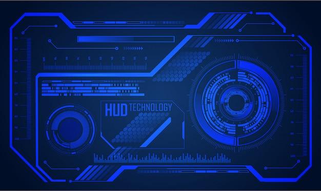 Fondo de concepto de tecnología futura de circuito azul cibernético de hud