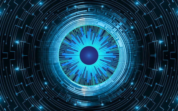 Fondo de concepto de tecnología futura de circuito azul cyber eye
