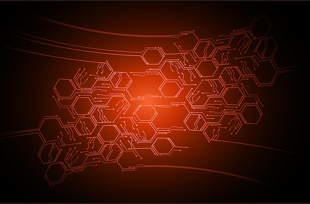 Fondo de concepto de tecnología futura de circuito de ciber naranja