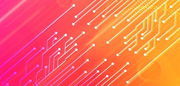Fondo de concepto de tecnología futura de circuito cibernético amarillo rosa