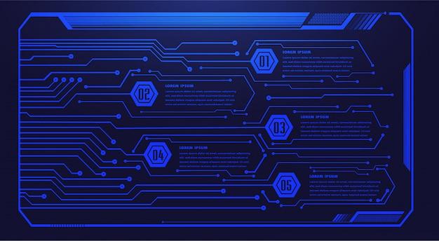 Fondo de concepto de tecnología futura de circuito cibernético azul de hud, cuadro de texto